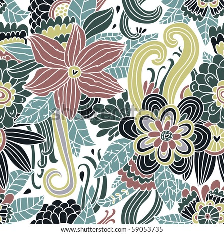 Floral seamless pattern for vintage wallpapers - stock vector