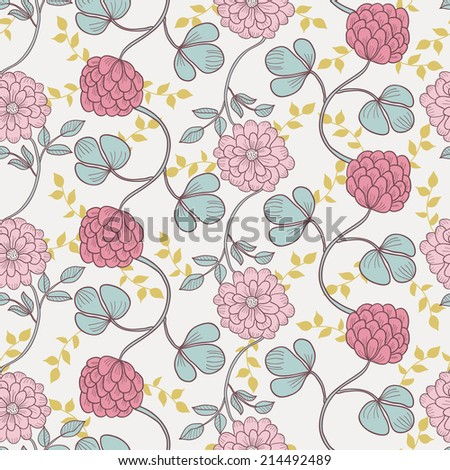 Floral seamless pattern for web-design, textile, graphic design. Retro vector background - stock vector