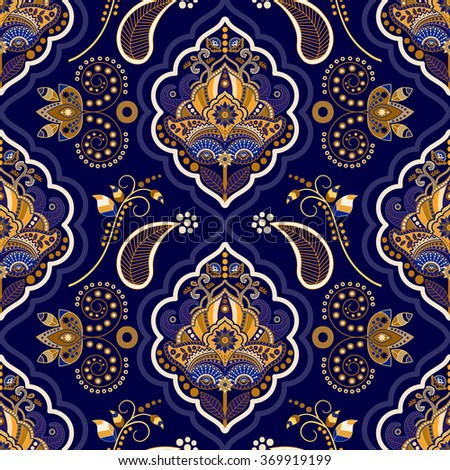 Floral seamless pattern. Gold and blue background with decorative elements - stock vector