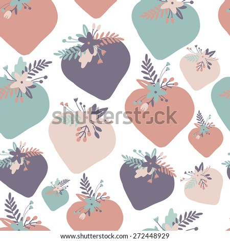 Floral seamless pattern. Heart with flowers. - stock vector