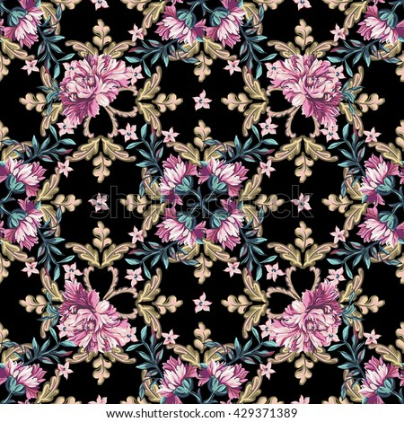 Floral seamless pattern in baroque style.  - stock vector