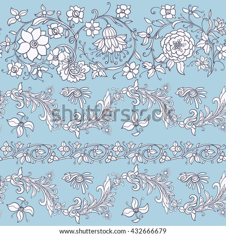 Floral seamless pattern in middle ages style. - stock vector