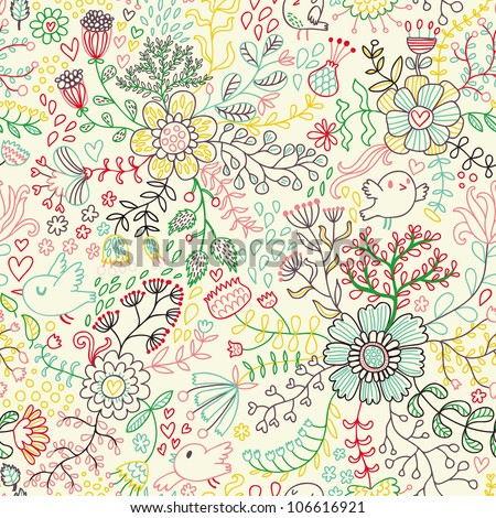 Floral seamless pattern in pastel colors for modern backgrounds - stock vector