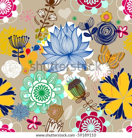Floral seamless pattern in retro style - stock vector