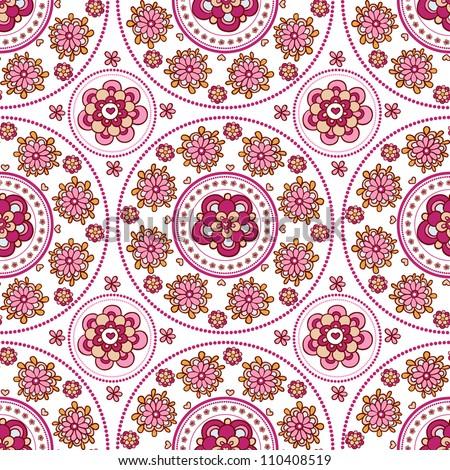 Floral seamless pattern. Indian ornament,  floral pattern, mandala. ethnic pattern. range, circle, round, disk.Vintage invitation card.Template frame design for card - stock vector