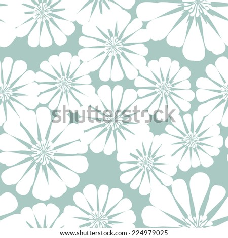 Floral seamless pattern. Monochrome texture with daisy flowers. Pastel cute background - stock vector