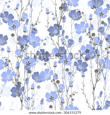 Floral seamless pattern of flax plant with flowers and buds. - stock vector