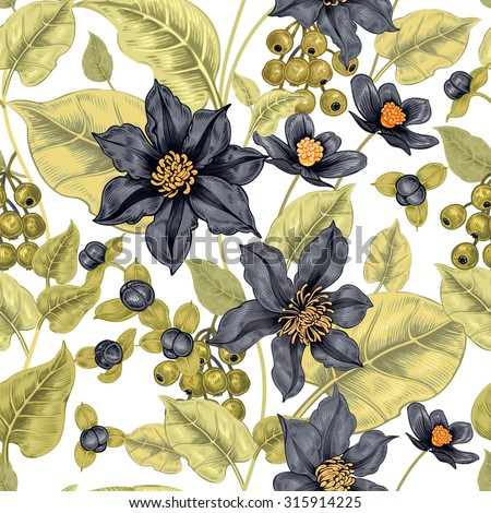 Floral seamless pattern on a white background for fabrics, textiles, wallpaper, paper. Vector. Clematis flowers and ornamental berries. Design Victorian style. - stock vector