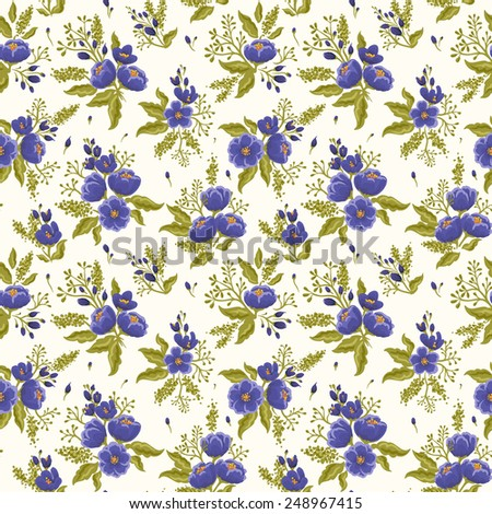 Floral seamless pattern on white beige background - stock vector