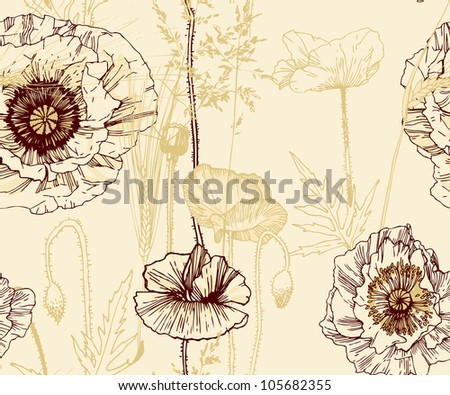 Floral seamless pattern. Poppy - stock vector