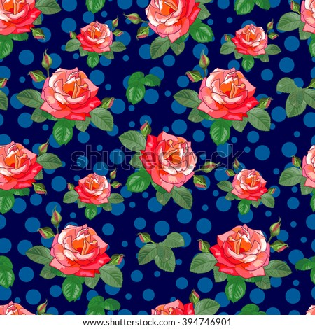 Floral seamless pattern. Rose with buds and leaves on a dark blue background . Vector illustration. Suitable for fabrics, textiles, Wallpaper, scrapbooking. - stock vector