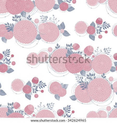 Floral Seamless Pattern. Round Hand Drawn Pink Asters on White Background.