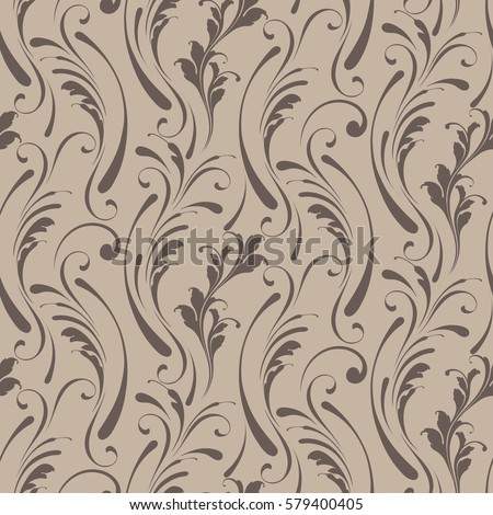Floral seamless pattern. Sample tile for fabric and paper. Soft design for textiles, papers and Wallpapers. Beige color.  Vintage flowery background.
