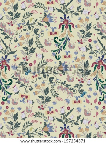 floral seamless pattern, vector design - stock vector