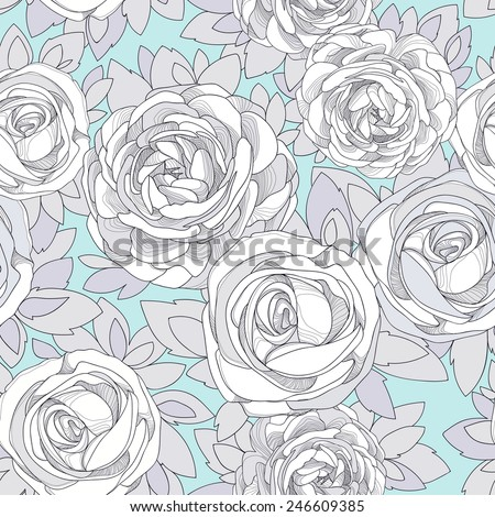 Floral seamless pattern. Vintage rose wallpaper. Detailed white flowers, buds and petals. Neutral background, botanical rose. Pale turquoise background with flowers in neutral pastel colors. - stock vector