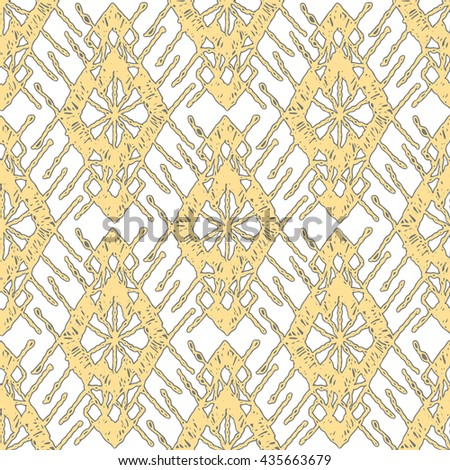 Floral seamless pattern with a fringe border knitted or woven macrame in boho style, oriental pattern, pattern bohemian, bohemian style, boho style, knitting, crochet pattern. - stock vector