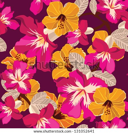 Floral seamless pattern with beautiful flowers, hand-drawing. Vector illustration. - stock vector
