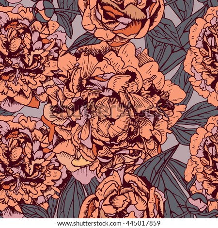 floral seamless pattern with beautiful peonies