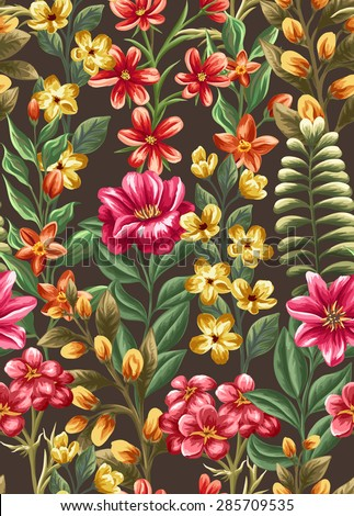 Floral seamless pattern with beauty flowers on dark background in watercolor style - stock vector