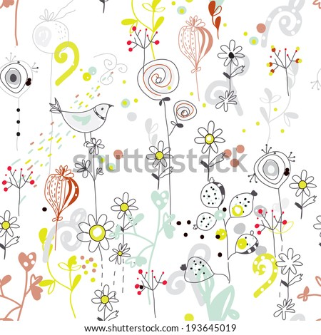Floral seamless pattern with bird sketch design  - stock vector