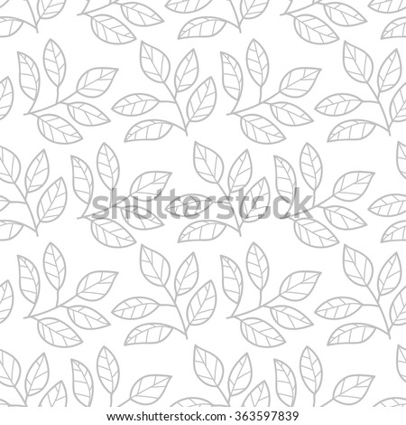 Floral seamless pattern with branches and leaves.Thin line tea leaves background.Tea seamless pattern. Vector illustration - stock vector