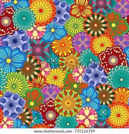 Floral seamless pattern with bright vivid various motley colourful stylized flowers, vector illustration as a paper wrapper