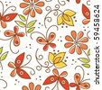 Floral seamless pattern with butterflies - stock vector