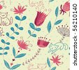Floral seamless pattern with cartoon cats - stock vector