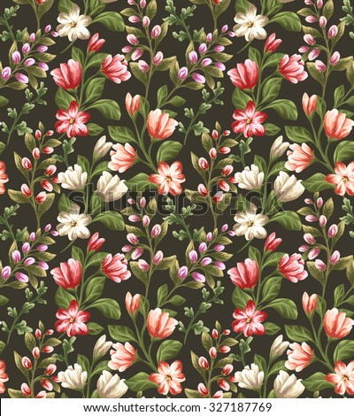 Floral seamless pattern with different flowers on dark background in watercolor style - stock vector