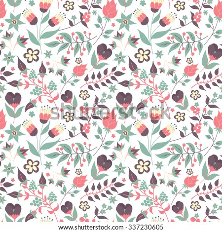 Floral seamless pattern with doodle flowers and leaves. Vector blooming floral texture for card, wrapping paper, invitation, card, wedding, surface or pajama pattern. Gentle autumn vector background. - stock vector