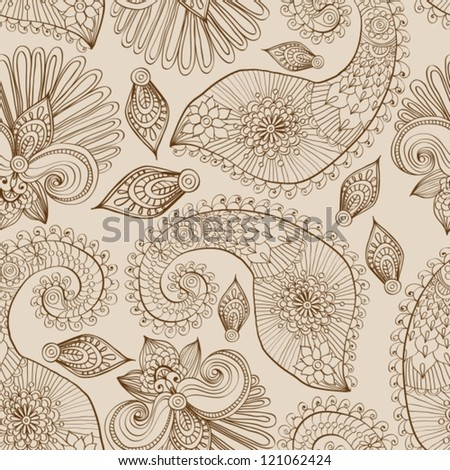 Floral seamless pattern with doodle flowers and paisley, vector illustration