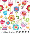 Floral seamless pattern with flowers and birds - stock photo