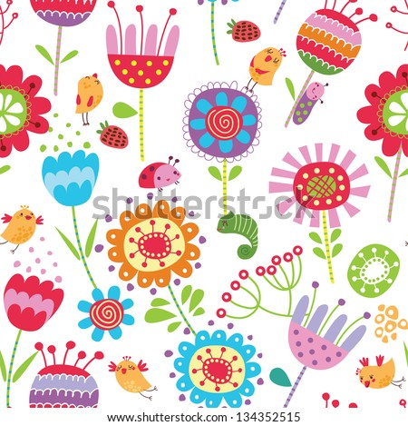 Floral seamless pattern with flowers and birds - stock vector