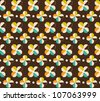 Floral seamless pattern with flowers and dots - stock vector