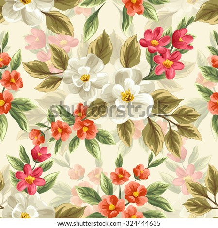 Floral seamless pattern with flowers and leaves on beige background in watercolor style - stock vector