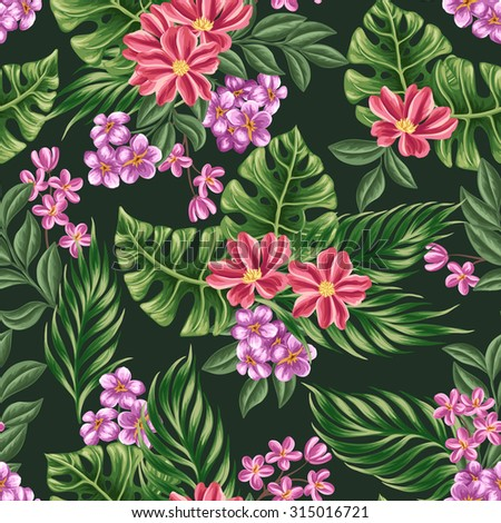 Floral seamless pattern with flowers and leaves on dark background in watercolor style - stock vector