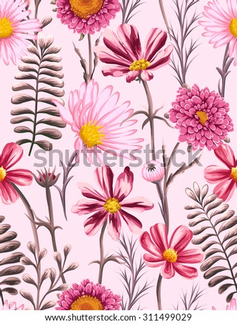 Floral seamless pattern with flowers and leaves on pink background in watercolor style - stock vector