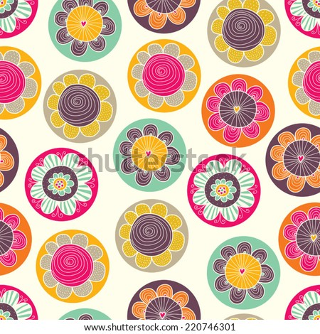 Floral seamless pattern with flowers. Vector blooming doodle floral texture. Colorful polka dot. - stock vector