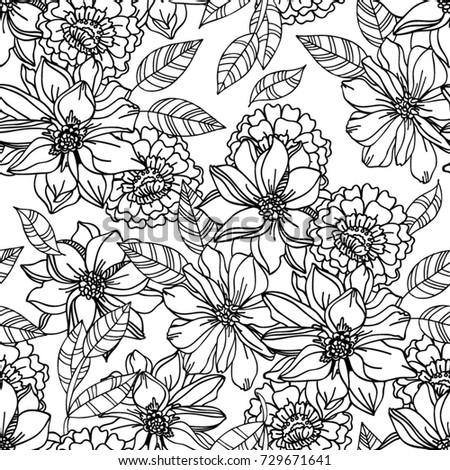 Floral seamless pattern with graphic black and white flowers for textile book covers