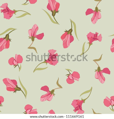 floral seamless pattern with lilac and pink sweet peas. flower seamless background. - stock vector