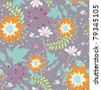 Floral seamless pattern with orange flowers - stock vector