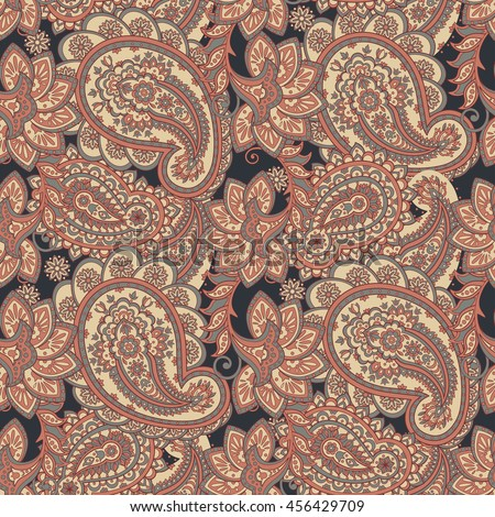 Floral seamless pattern with paisley ornament