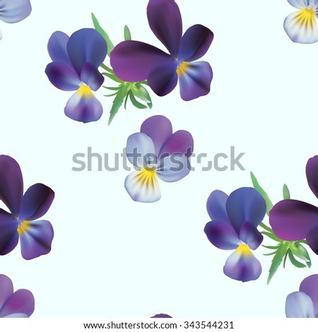 Floral seamless pattern with pansies on cyan background, vector illustration. - stock vector