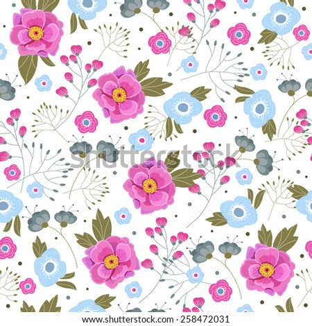 Floral seamless pattern with pink and blue flowers - stock vector