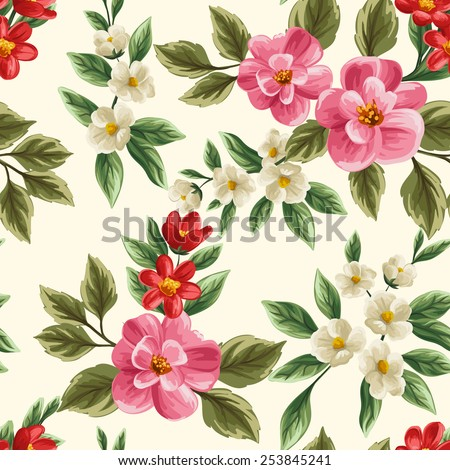 Floral seamless pattern with pink, white and red flowers and leaves on beige background. - stock vector