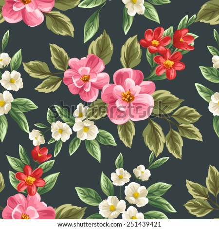 Floral seamless pattern with pink, white and red flowers and leaves on dark background. - stock vector