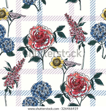 Floral seamless pattern with plaid background. Vector illustration. - stock vector