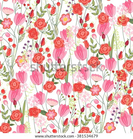 Floral seamless pattern with red tulips and roses. Endless texture for romantic  design, decoration,  greeting cards, posters,  invitations, advertisement. - stock vector