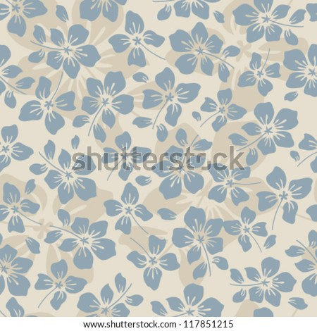 Floral seamless pattern with small blue flowers - stock vector