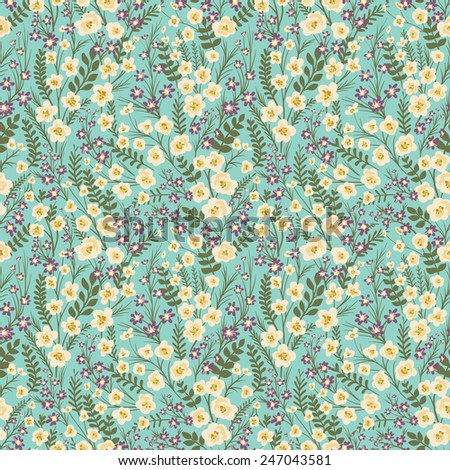 Floral seamless pattern with small flowers and leafs - stock vector